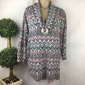 Absolutely Famous Pink & Black Print Cowl Tunic